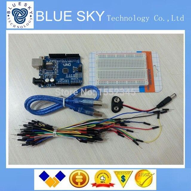 Starter Kit Uno R3-Pacote de 5 Itens: Uno R3, placa de ensaio, Fios de ligação em ponte, Cabo USB e Conector Da Bateria de 9 V