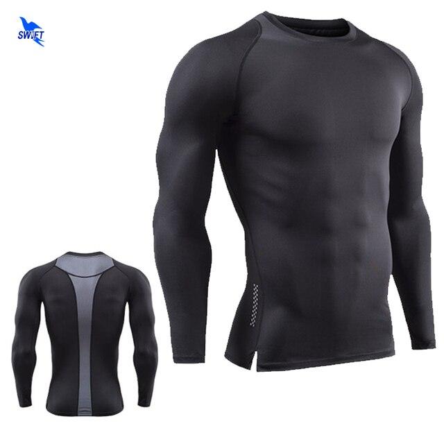 Fitness culturismo tela elástica de compresión de la camisa de los hombres  de Patchwork camiseta de d9e5bba89dd53