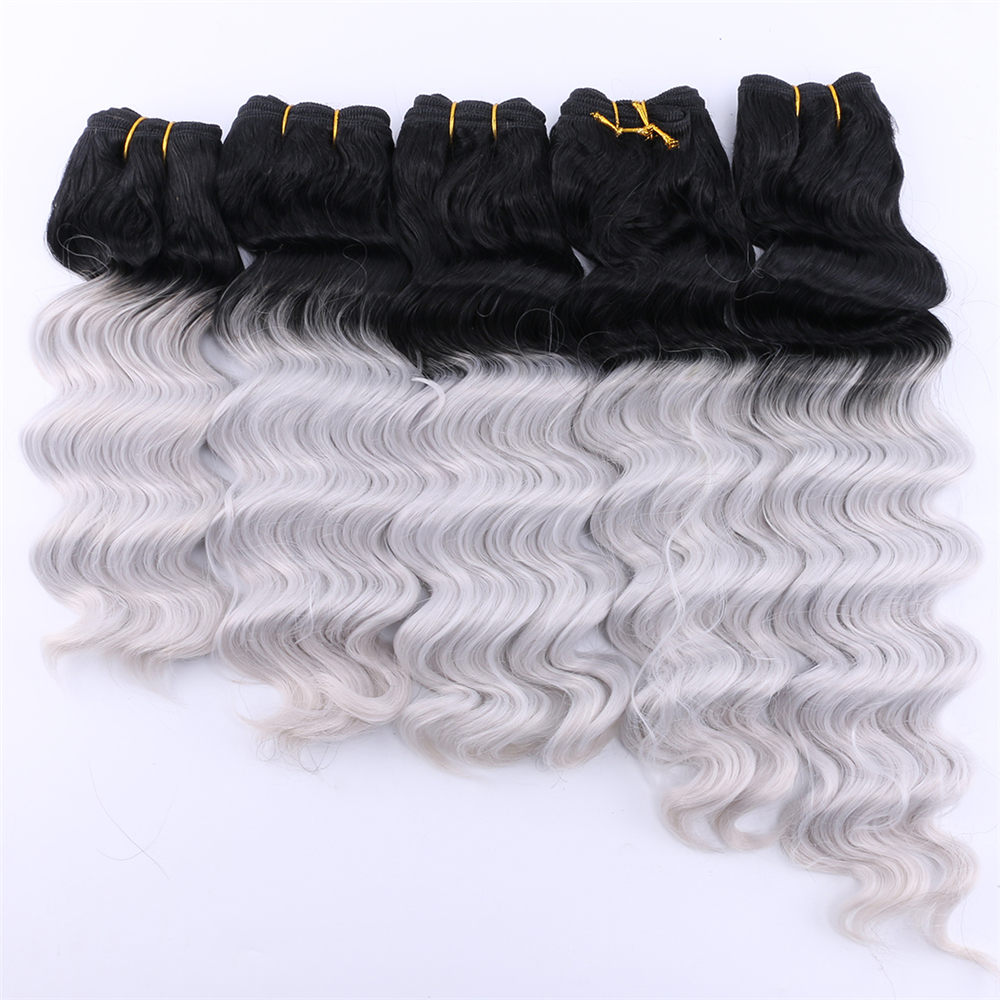 Black To Grey Ombre Synthetic Hair Extensions 100 Gram One Piece Deep Wave Bundles 3pcs/lot Hair Weave For Women