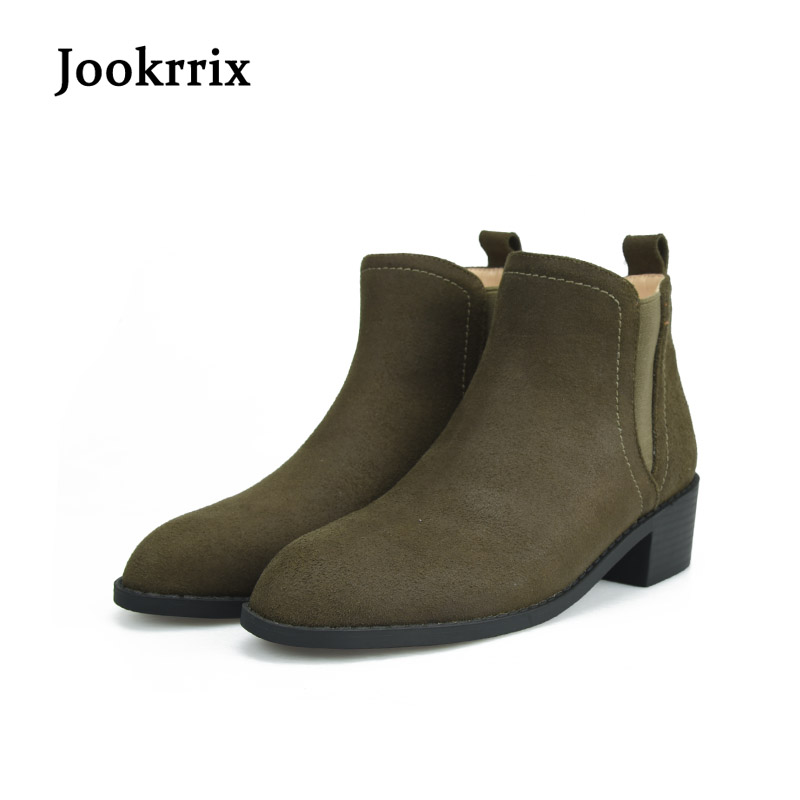 Jookrrix Autumn Fashion Retro Chelsea Boots Flock Brown Shoes Women Black Ankle Boot Pu Leather Brand Warm Silp On Flats Boots yanicuding round toe women flock ankle booties metal short boots zip design luxury brand fashion runway star autumn shoes flats