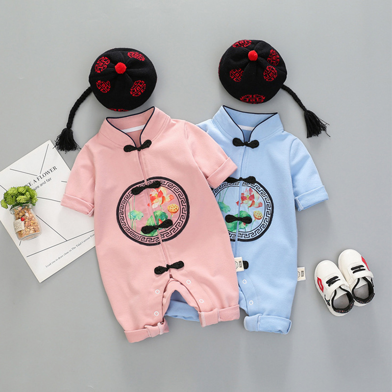 e8a880cdb fall newborn baby girls boy clothes Chinese style jumpsuit hats sets infant  babies clothing set outerwear