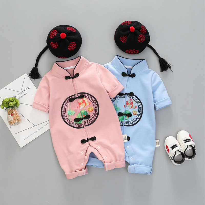 fall newborn baby girls boy clothes Chinese style jumpsuit hats sets infant babies clothing set outerwear coveralls rompers suit