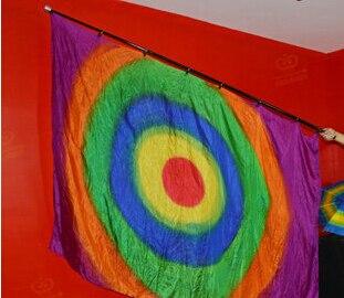 Production de soie arc-en-ciel (1.6 m * 1.4 m) carré multicolore drapeau scène illusions magiques, nouveautés fête/blagues, magie de la soie