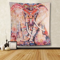 Elephant Tapestry Colored Printed Decorative Mandala Tapestry Indian Boho Wall Carpet Yoga Mat Travel Mattress