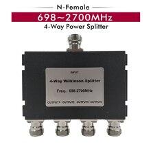 698 ~ 2700 MHz 4 Way Splitter N Femminile del Divisore di Potere 1 4 Divisore per 2G 3G 4G Del Segnale Del Telefono Cellulare Ripetitore Del Ripetitore Amplificatore di Segnale