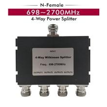 مقسم طاقة N Female 698 ~ 2700 ميجاهرتز مقسم 4 اتجاهات مقسم 1 4 مقسم لمكبر إشارة مقوي إشارة الهاتف الخليوي 2G 3G 4G