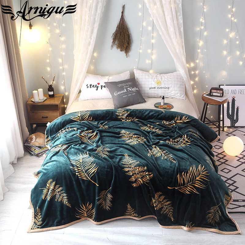 ARNIGU Leaves print Blanket bedspread Fleece soft plaids single twin queen king size sofa Throws 200*230cm 230*250cm bed sheet