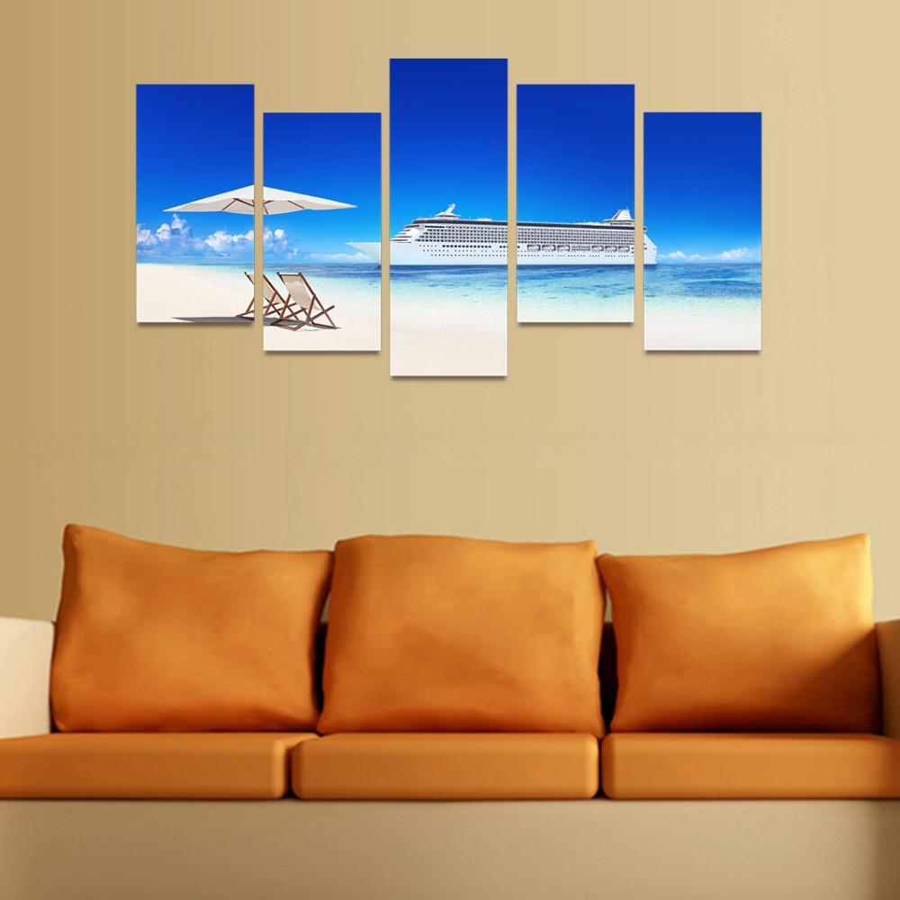 5 Panels Canvas Print White Umbrella Chairs On White Beach Painting ...