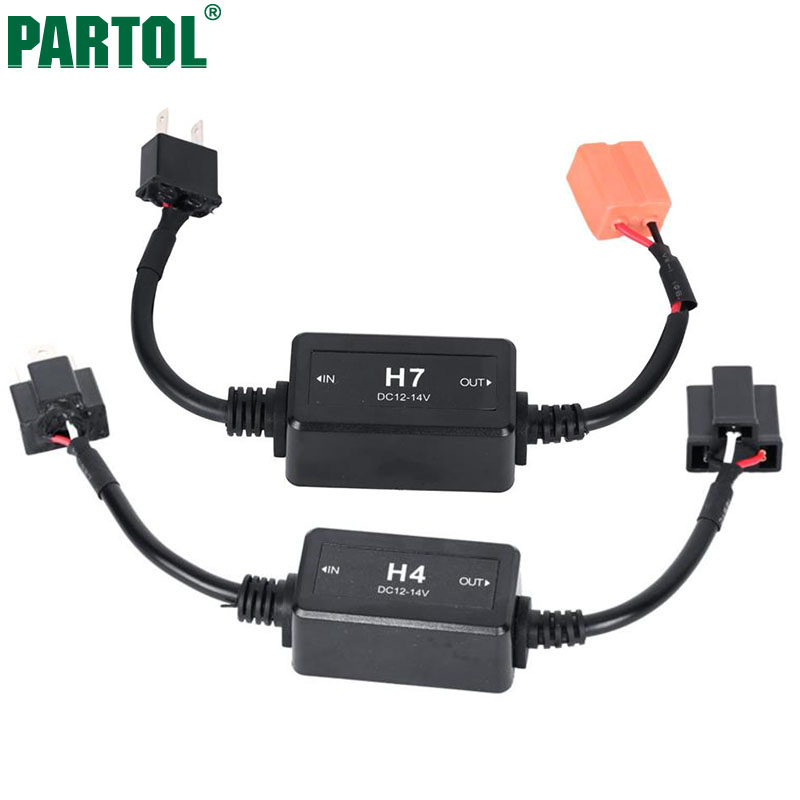 Partol H4 H13 H7 H8 H9 H11 HB3 9005 HB4 9006 Car LED Headlight Bulbs Canbus Fog Lamp Light Decoder Resistor Wire Harness Adapter partol h4 h13 h7 h8 h9 h11 hb3 9005 hb4 9006 car led headlight bulbs canbus fog lamp light decoder resistor wire harness adapter