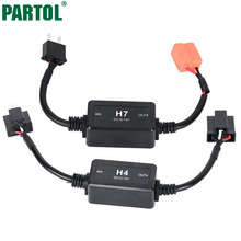 Partol H4 H13 H7 H8 H9 H11 HB3 9005 HB4 9006 Car LED Headlight Bulbs Canbus Fog Lamp Light Decoder Resistor Wire Harness Adapter