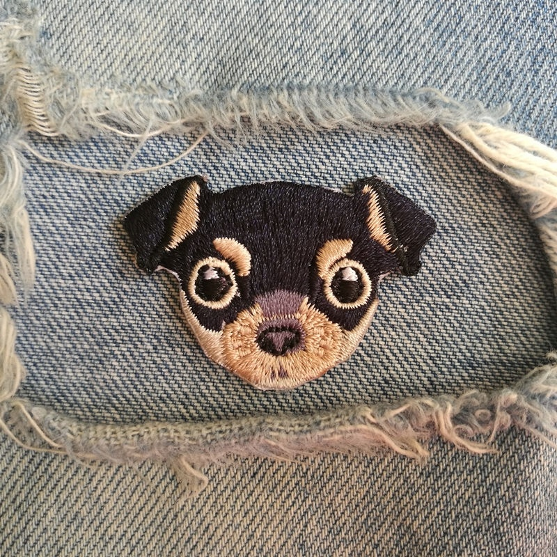 1 PIC 4.5*3.1CM CHILDREN LOVELY DIY STICKER Embroidered Cloth Chihuahua DOG Badge DIY Dress Patch