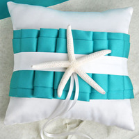 Free Beach Trasporto Tema Turchese E Avorio Wedding Ring Pillow con Anta E Starfish/Accessori Da Sposa