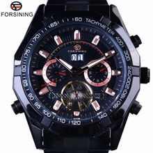 цена Forsining 2017 Sport Racing Design Black Stainless Steel Watch Men Luxury Brand Automatic Tourbillion Calendar Male Wristwatches онлайн в 2017 году