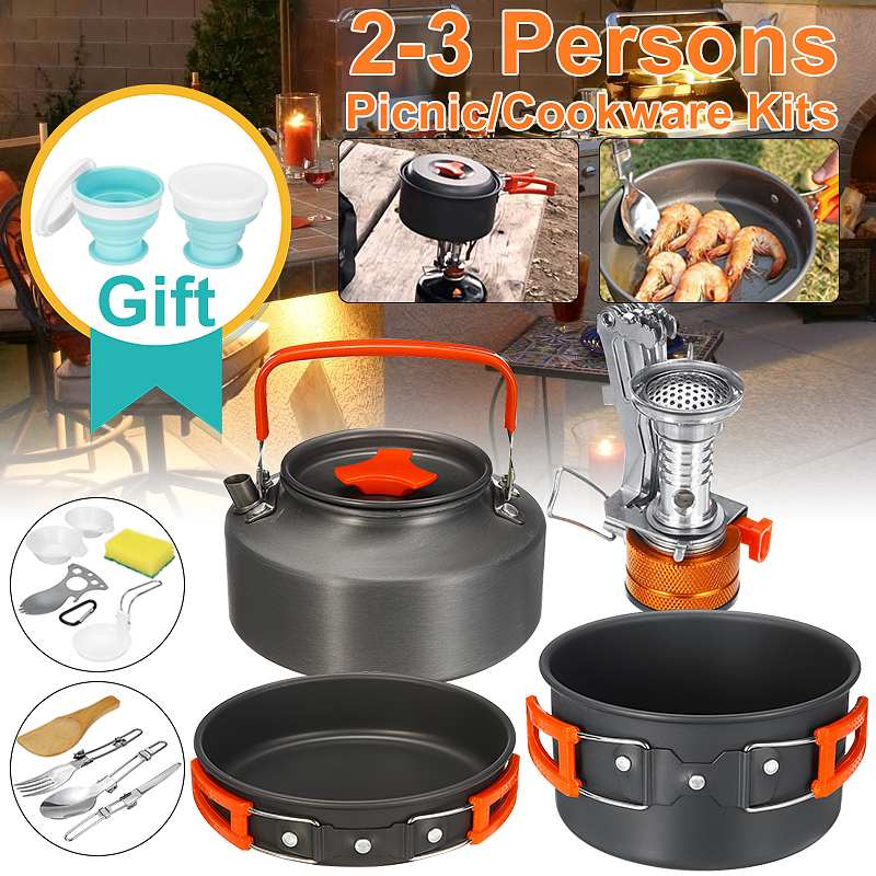 Batterie de cuisine extérieure Portable ensemble de cuisine Camping vaisselle Set de cuisine vaisselle de voyage ustensiles de cuisine randonnée pique-nique ensemble pour 2-3 personnes
