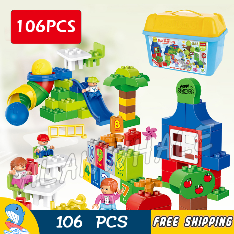 106pcs My First Learning Park Tree Number House Picnic Model Big Size Building Blocks Bricks Kid Toys Compatible With Lego Duplo 120pcs farm building blocks diy toys early learning self locking bricks baby educational toys compatible with duplo play house