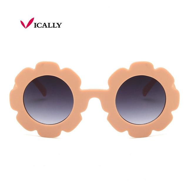 7924eaf32844 Kids Sunglasses Child Sun Glasses Girls Boys Round Flower Gafas Baby  Children UV400 Sport Sunglasses Vintage