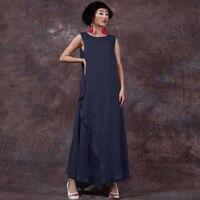 2016 Summer ZANZEA Women Cotton Linen Retro Dress Long Maxi Casual Loose Sleeveless O Neck Ankle