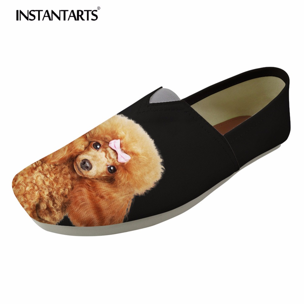 INSTANTARTS 2018 New Women Summer Casual Flats Shoes Cute Animal Dog Poodle Pug Dog Pattern Comfort Student Canvas Loafers Shoes