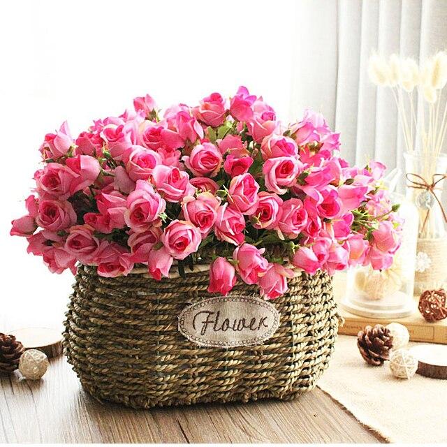 naturel rose de fleur en plastique panier panier d 39 osier. Black Bedroom Furniture Sets. Home Design Ideas