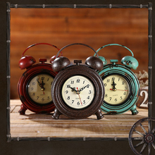 Industrial Rustic Decorative Wall Clock Table Clock Desk Tabletop Time  Watch For Home Office Study(