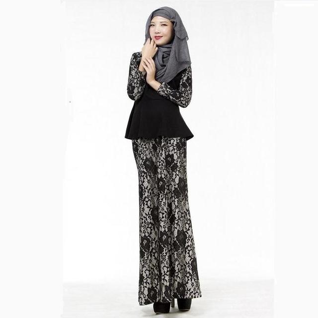 Atacado 2016 Novo de Grande Qualidade Adequado two-piece Malásia Moda Oco Lace Vestido Islâmico Abaya Muçulmano Abayas Peru w851