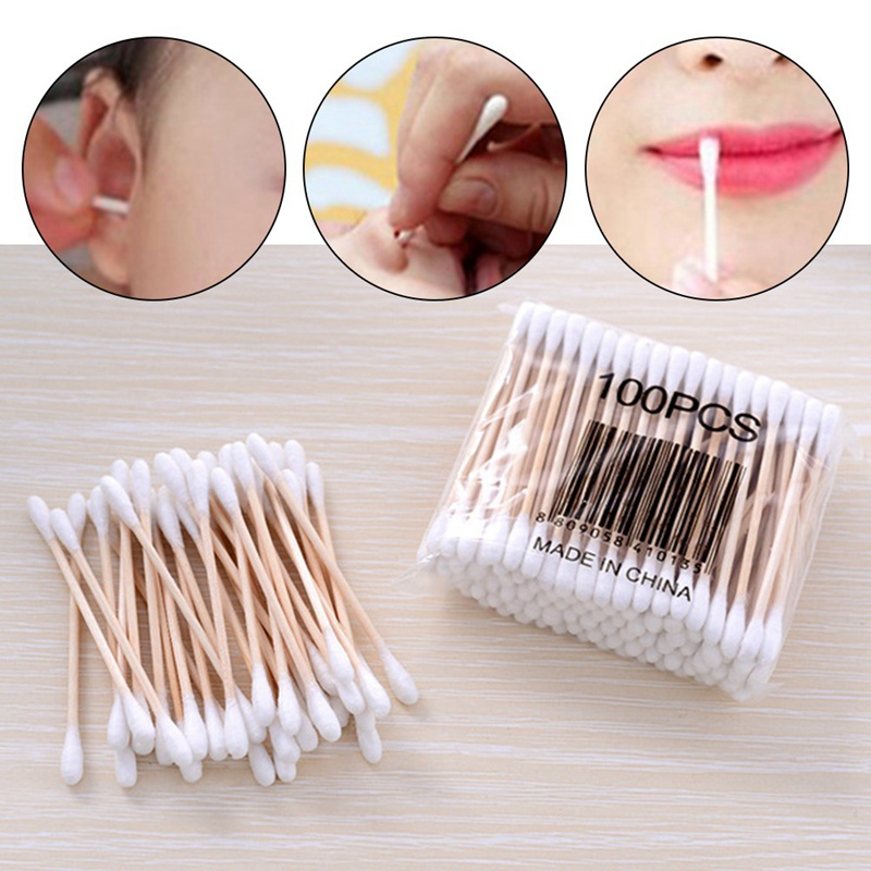 100pcs Cotton Buds Cotton Swabs First Aid  Disinfection Ear Cleaning Wood Sticks Makeup Health Tools Tampons Cotonete