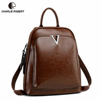 2019 New Spring Style Women Lady Backpack Fashion Casual Solid V Leather Solid High Quality Cow Leather Mini Backpack