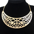 Aztec Gypsy Mayan Gold Mexican Crescent Geometric Choker Colar Bib Chain Statement Maxi Necklace