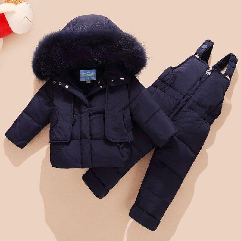 2018 зимний детский комплект одежды, детский лыжный костюм, комбинезон, пуховое пальто для маленьких мальчиков, теплые зимние куртки + комбине...