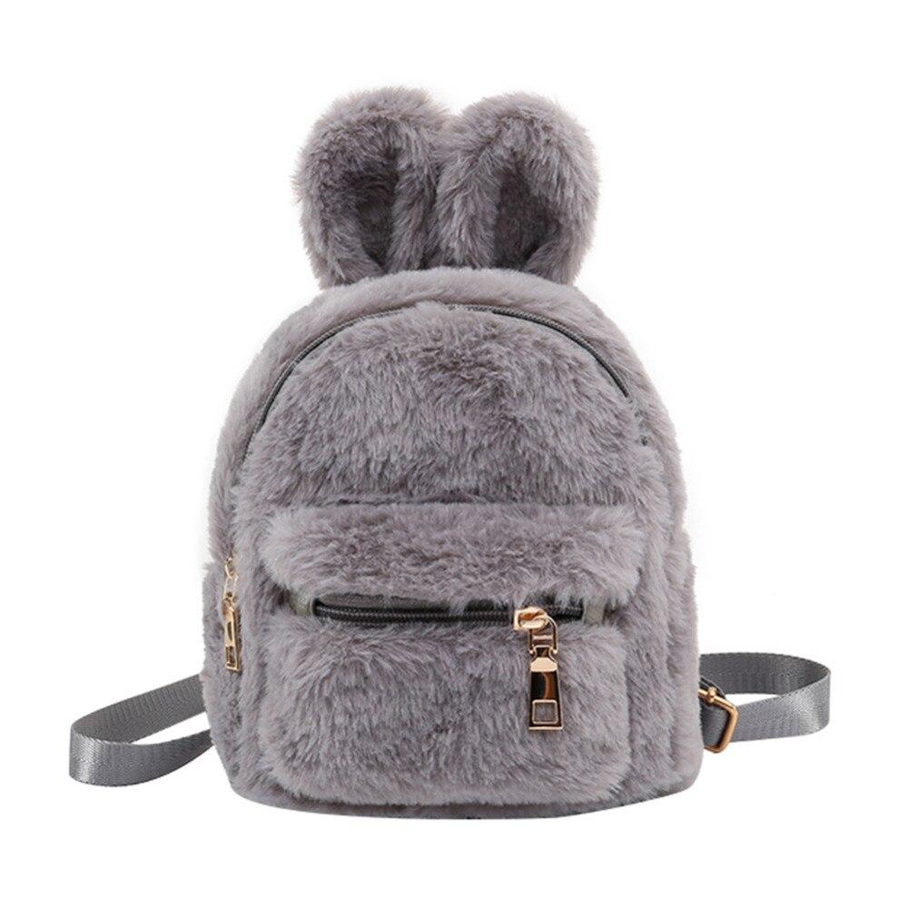 Children School Bag Plush Faux Fur Mini Rabbit Ears Kids Backpacks Girls Children School Kindergarten Shoulder Mini Backpacks