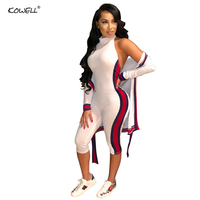 2018 Autumn Hot Sale Sling Sexy Side Classic Color Stripes Splicing Stitching Jumpsuit Women Playsuit Overalls Two Pieces suits