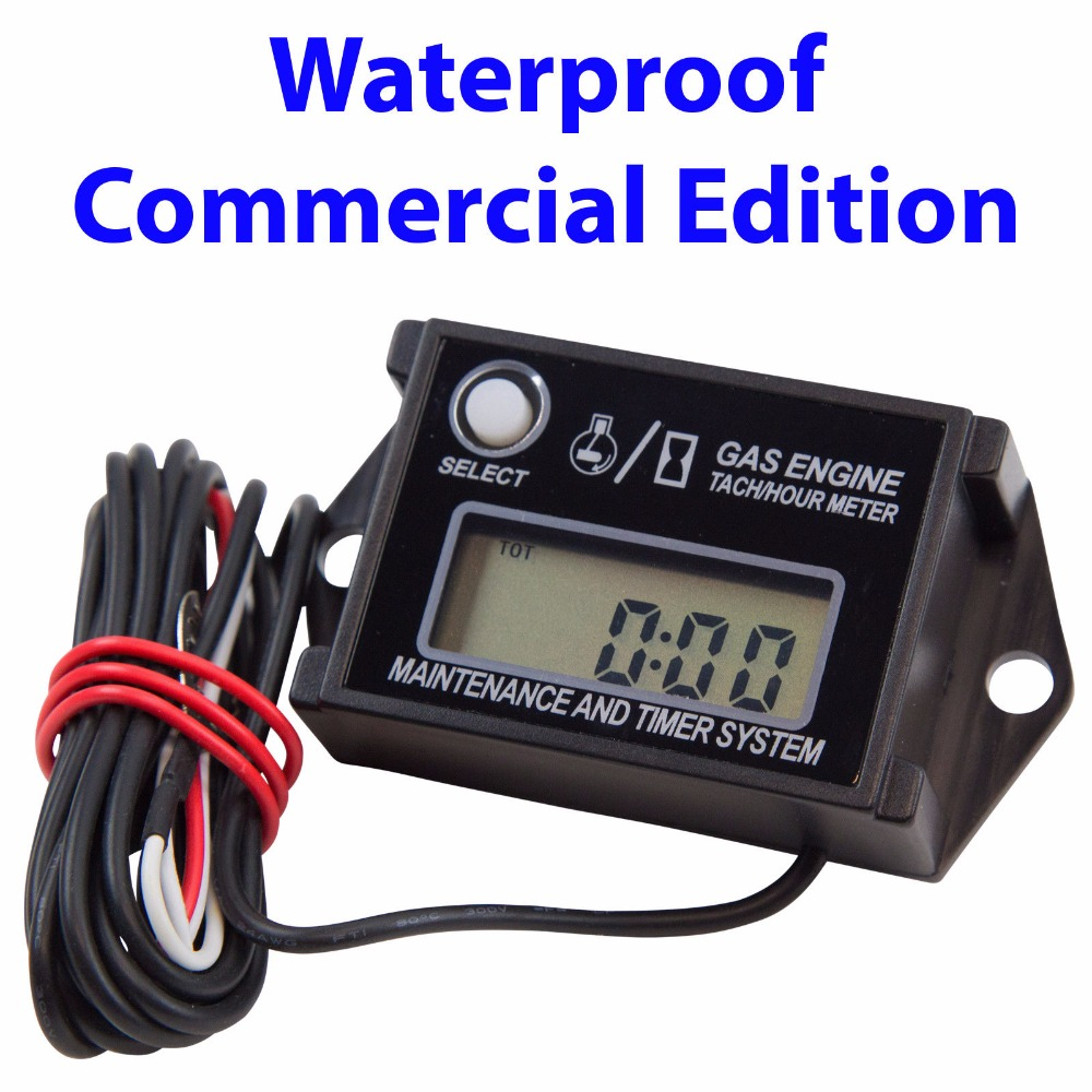 CARBOLE NEW Premium ATV Plus brand tiny mini tach WATERPROOF commercial edition with hour meter and service reminders