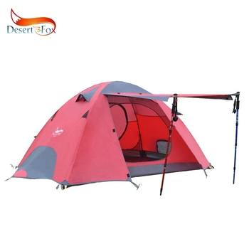 Desert&Fox Outdoor Camping Tent, Aluminum Poles Double Layer 2-3 Person Large Space Waterproof Portable Travel Tent 1