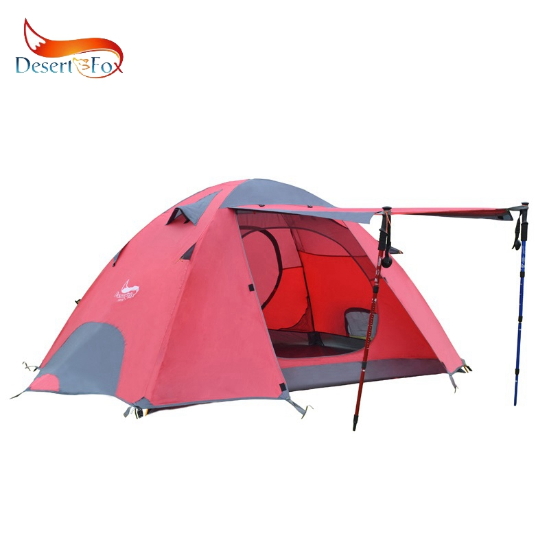 Desert&Fox Outdoor Camping Tent Aluminum Alloy Poles Double Layer 2-3 Person Large Space Waterproof Portable Travel Tent 3 x 9m portable home use waterproof tent white high quality outdoor travel waterproof tent easy to install and use