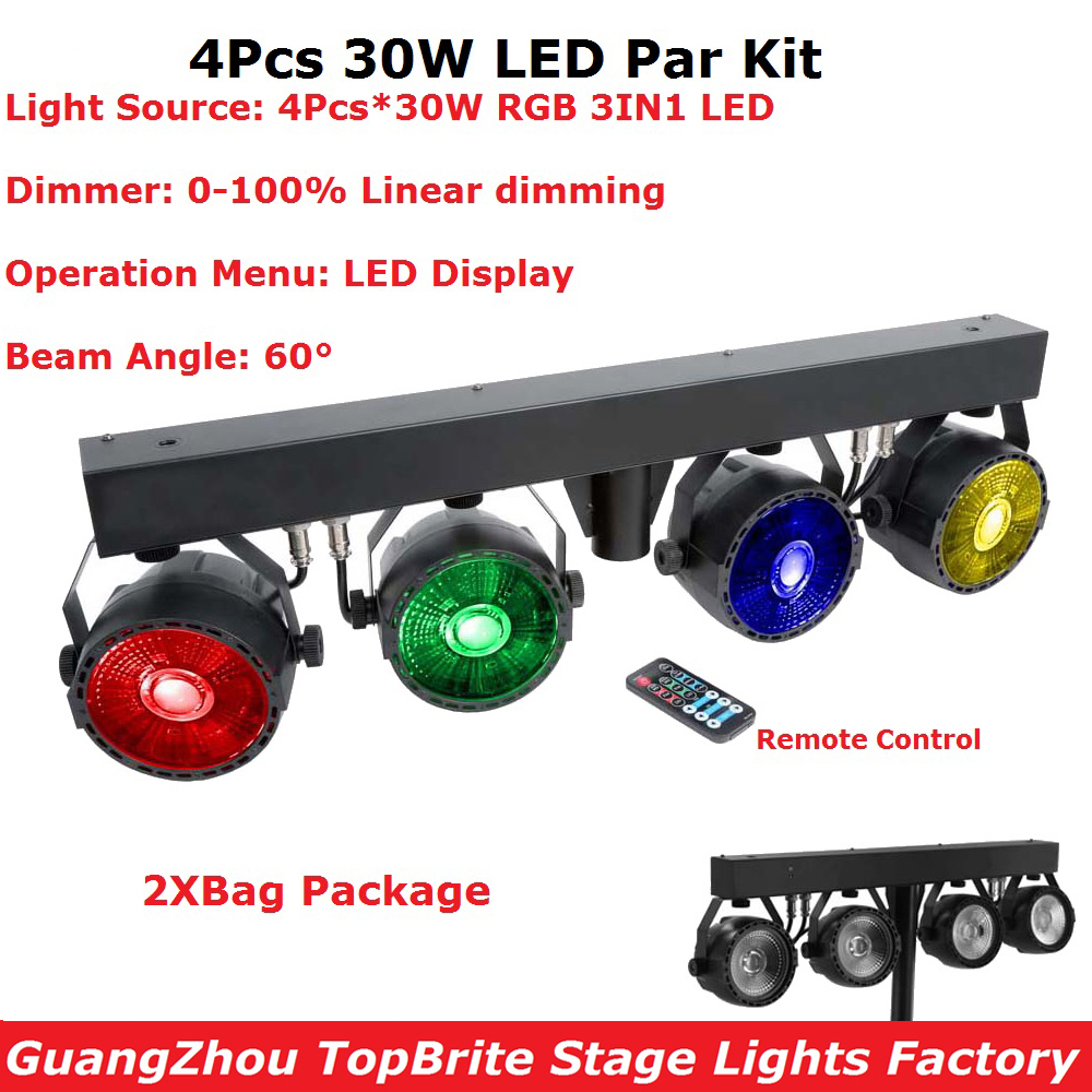 2XLot Bag Package LED Par Kit 4Pcs 30W RGB 3 Colors LED Slim Flat Par Lights With Light Stand 60 Degree Beam Angle LED Display