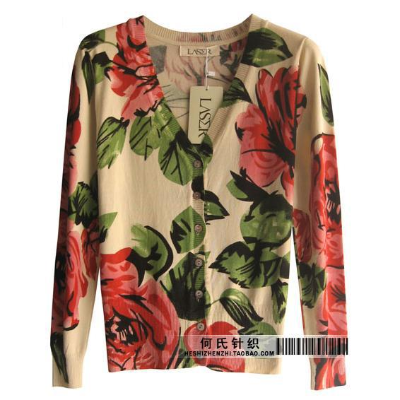 92f95a194c 2014 New women s long sleeve V neck red flowers abstract cardigan sunscreen sweater  geometry handsome Print Cardigans Cartoon-in Cardigans from Women s ...