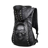 Nowy 2016 Moda Osobowość 3D skull nity czaszki plecak skórzany plecak z Kapturem czapka odzieży torba torby krzyżowe hiphop mężczyzna