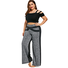 Women's Plus Size Elastic Black and Gray Wide Pants