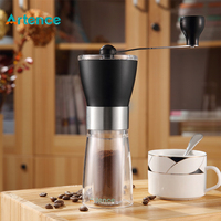 Transparent Manual Coffee Grinder Portable Ceramic Burr Grinder For Home Office Travelling Washable Coffee Mill Easy