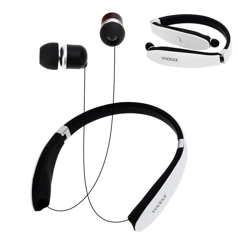 Bluetooth 4.0 Earphone Wireless Stereo Neckband In-ear Earphones for Phone White L3FE