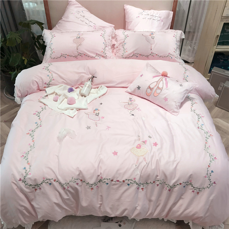 Luxury Egypt Cotton Ballet Girl Bedding Set Embroidery Ruffles Duvet Cover Sets Bed Sheet Twin Queen King Size 4/6/7Pcs