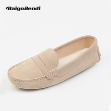 Size 33 34 Small Cow Suede Leather Woman Loafers Casual Slip On Driving Car Shoes Ladies Light Weight Boat
