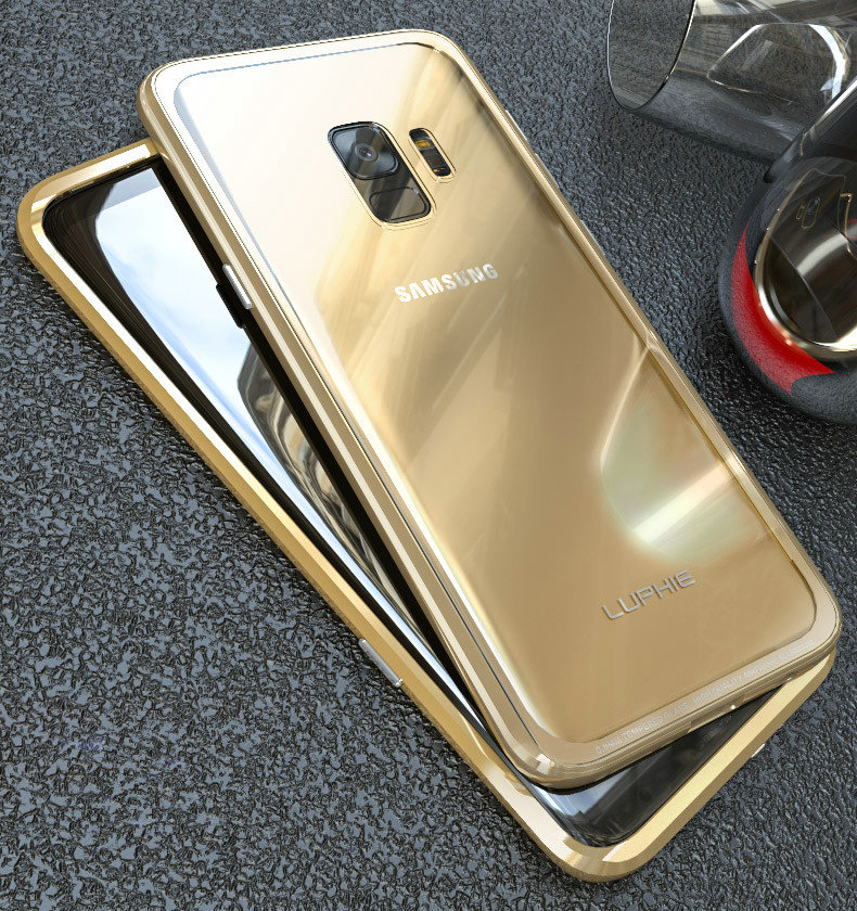 LUPHIE Luxury clear glass cover For Samsung Galaxy S9 S8 Plus Metal Bumper (24)