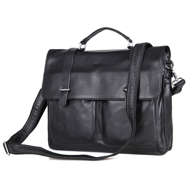 Nesitu High Quality Black Genuine Leather Men Briefcase Messenger Bag Portfolio 14'' Laptop Business Male Men's Office Bag M7100