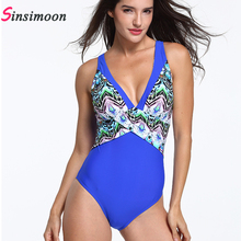 High Cut Women Plus Size Swimsuit One Piece Swimwear Female Deep V Swimming Suit Retro Vintage Bathing Floral Beachwear