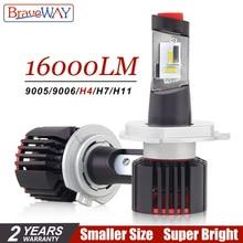 BraveWay H4 светодиодный H7 H11 HB3 HB4 9005 9006 Авто Светодиодный лампа для фары авто лампы для автомобилей CSP чип H7 светодиодный светильник для автомобиля лампа H4 16000LM