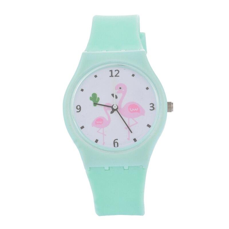 MJARTORIA New Cartoon Cat Flamingo Watch For Women Girls Cute Casual Silicone Wrist Watch Candy Color Quartz Ladies Watch Clock