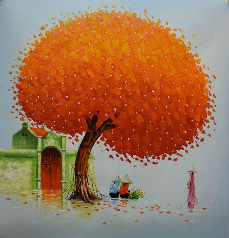Peint à la main abstrait paysage peinture à l'huile sur toile moderne mur Art grand couteau mur peintures Orange arbre photos à la main