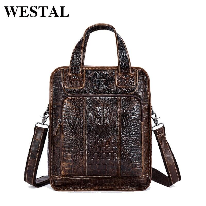 WESTAL Genuine Leather Men Bag New Designer Male Shoulder Crossbody bags laptop tote men briefcases Leather messenger Bag 9909