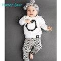 Humor Urso de Moda de Nova Pinguim da Roupa Do Bebê da Menina Roupas de Bebê Roupas de Outono das Crianças de Manga Comprida + Calça Terno Infantil vestuário